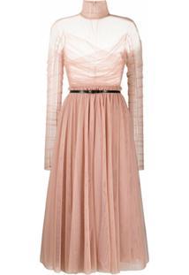 Brognano Vestido Com Recorte Translúcido - Rosa
