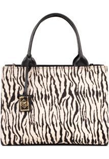 Bolsa Satchel Grande Pelo Zebra Cbk - Preto/Zebra - Feminino - Dafiti