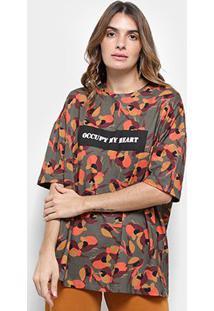 Camiseta T-Shirt Cantão Estampa Local Camuflada Feminina - Feminino-Verde+Laranja