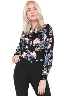 Camisa Facinelli By Mooncity Floral Preta