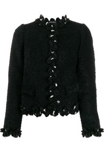 Dolce & Gabbana Cropped Ruffle Trim Jacket - Preto