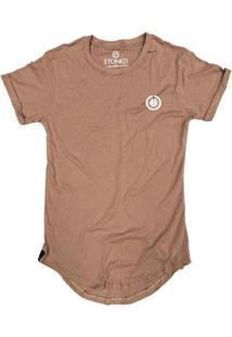 Camiseta Longline Stoned Basic Masculina - Masculino-Bege