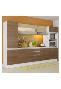 Cozinha Completa 100% Mdf Madesa Smart 300 Cm Modulada Com Armário, Balcão E Tampo Branco/Rustic/Crema Branco/Rustic/Crema