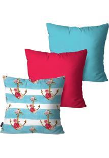 Kit Com 3 Capas Para Almofadas Pump Up Decorativas Azul Âncoras E Flores 45X45Cm