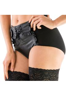 Calcinha Alta Thais Gusmão Hot Pant Leather Girl - Feminino-Preto