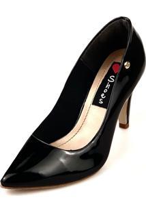 Scarpin Salto Alto Love Shoes Bico Fino Verniz Preto
