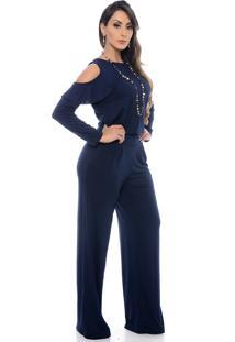 Macacão Pantalona B Bonnie Ombro Vazado Manga Longa Clara Azul Marinho