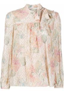 Redvalentino Blusa Com Padronagem Floral E Laço Na Gola - Rosa