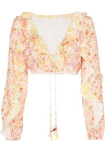 Zimmermann Blusa Goldie Cropped Com Babados - Spliced