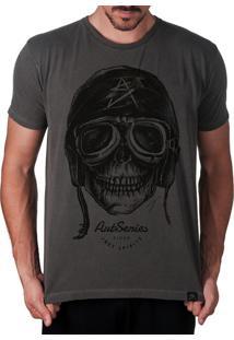 Camiseta Artseries Caveira Motoqueiro Rider Cinza