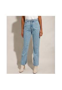 Calça Reta Jeans Com Fendas Cintura Super Alta Azul Claro