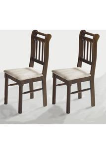 Kit 2 Cadeiras Kingston Com Assento Estofado - Acabamento Verniz Pu - Madeira Maciça - Castanho