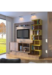 Estante Home Theater Para Tv Até 42 Polegadas 1 Porta De Correr Torino Vecchio/Amarelo - Móveis Primavera