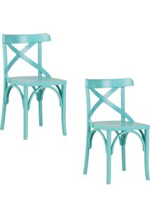 Kit 2 Cadeiras Decorativas Gran Belo Crift Turquesa