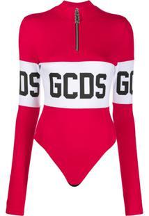 Gcds Body Gola Alta Com Estampa De Logo - Vermelho