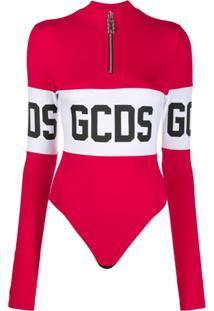 Gcds Logo Print Turtleneck Body - Vermelho