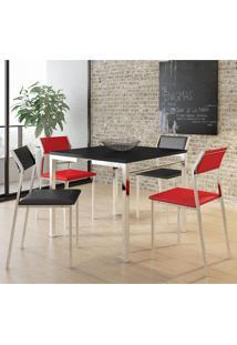 Mesa 1525 Preta Cromada Com 4 Cadeiras 1709 Preta/Vermelha Carraro