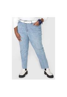 Calça Jeans Forever 21 Plus Mom Estonada Azul