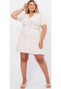 Vestido Almaria Plus Size Tal Qual Com Cinto Bege