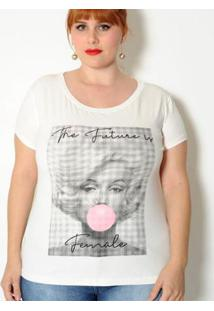 Camiseta Vintage And Cats Plus Size Marylin - Feminino-Off White