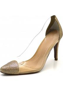 Scarpin Ellas Online Salto Alto Transparente Dourado - Tricae