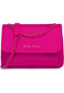 Miu Miu Bolsa Tiracolo Com Placa De Logo - Rosa