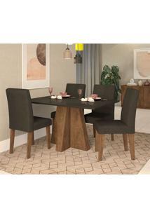 Conjunto De Mesa De Jantar Com 4 Cadeiras Estofadas Amanda Suede Preto