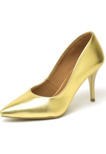 Scarpin Salto Mã©Dio Ellas Online Dourado - Dourado - Feminino - Dafiti