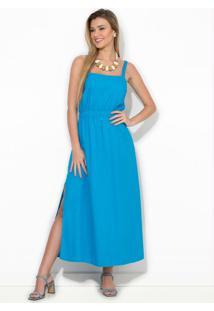 Vestido Midi Linho Azul