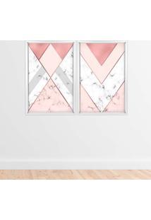 Quadro Com Moldura Chanfrada Triângulo Com Mármore Branco - Médio
