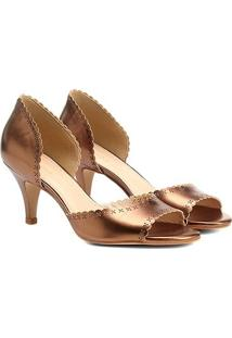 Peep Toe Shoestock Salto Fino Laser Floral - Feminino