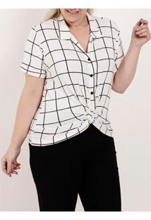 Camisa Manga Curta Plus Size Feminina Autentique Branco/Preto