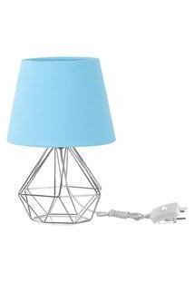 Abajur Diamante Dome Azul Bebe Com Aramado Cromado