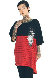 Camiseta Oversized Stooge Geometric Heart Preto/Vermelho