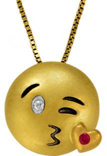 Pingente De Ouro 18K Emoji Beijo Com 2 Brilhantes - Pg17158