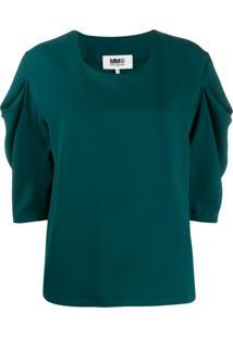 Mm6 Maison Margiela Blusa Com Detalhe Franzido - Verde