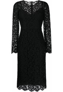 Dolce & Gabbana Vestido Mangas Longas Com Renda Floral - Preto
