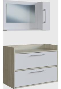 Conjunto De Balcão E Espelheira P/ Banheiro Arlo Branco E Madeirado Claro E Estilare Móveis