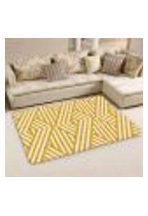 Tapete Sala Wevans Traços Amarelo Único 90X125