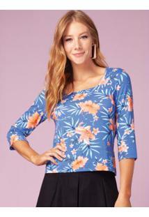 Blusa Floral Com Decote Quadrado