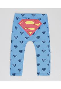 Calça Infantil Super Homem Estampada Azul