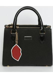 Bolsa Em Couro Texturizada & Com Bag Charm- Preta & Dourgriffazzi