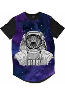 Camiseta Longline Insane 10 Animal Astronauta Tigre Bravo No Espaço Sublimada Cinza