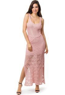 813b8ef634 Kanui. Vestido Pink Tricot Longo Decote Trançado ...
