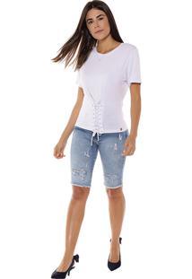 T-Shirt Studio21 Espartilho Branco