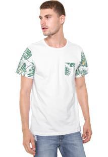 Camiseta Fiveblu Manga Curta Folhas Branca