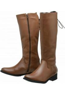 Bota Encinas Leather Montaria Panturrilha - Feminino-Caramelo