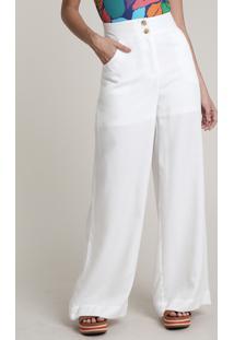 Calça Feminina Salinas Pantalona Com Bolsos Off White