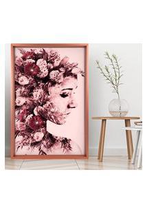 Quadro Com Moldura Chanfrada Mulher Com Rosas Rose Metalizado - Médio