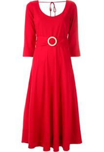 Eva Vestido Midi Ella Com Fivela - Vermelho
